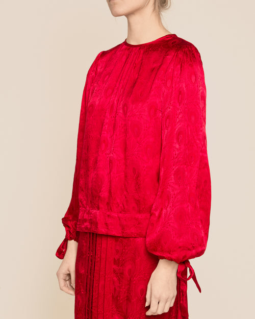 Red Jacquard Bow Blouse