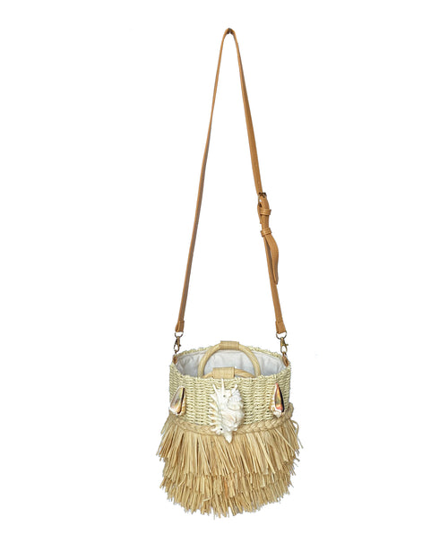 Straw Shell Round Bag