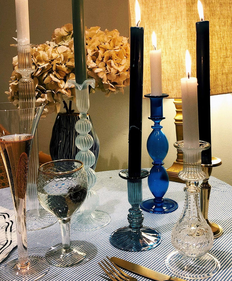 Cloudy Glass Candle Holder