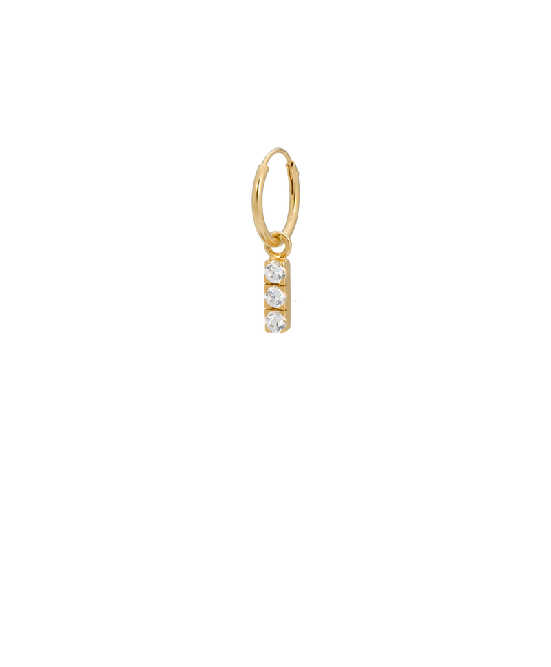 Single Zirconia String Ring Earring Gold