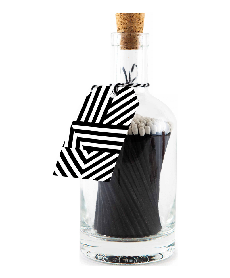 Black Geometric Bottle Matches