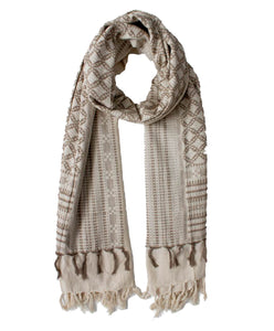 Bohemia Embroidered Taupe Scarf