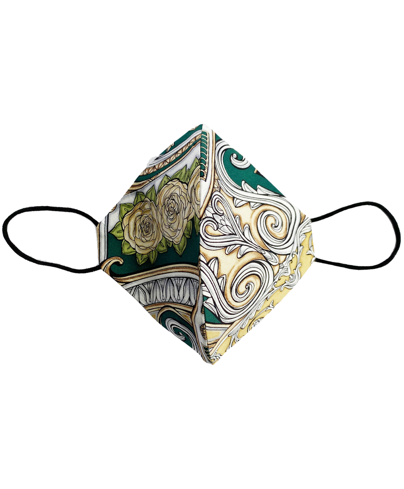 Earth & Sister Vintage Green Floral Silk Mask