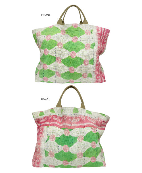 Vintage Green & Pink Pattern Kantha Bag