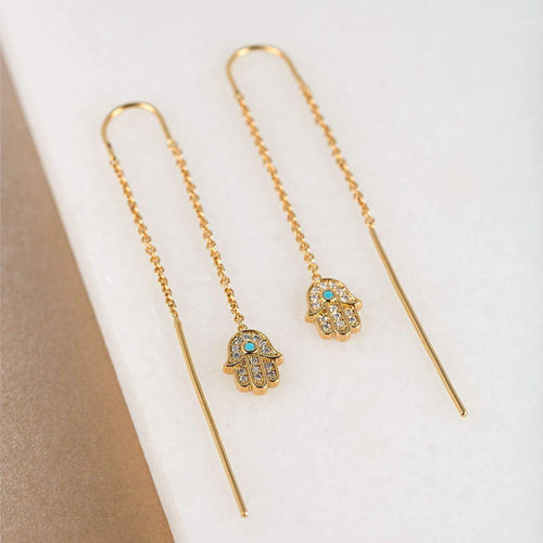 Gold Fatima Hand Threader Earrings