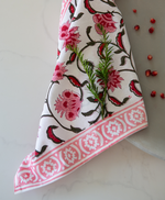 Pink & Berry Cotton Hand Block Printed Napkin