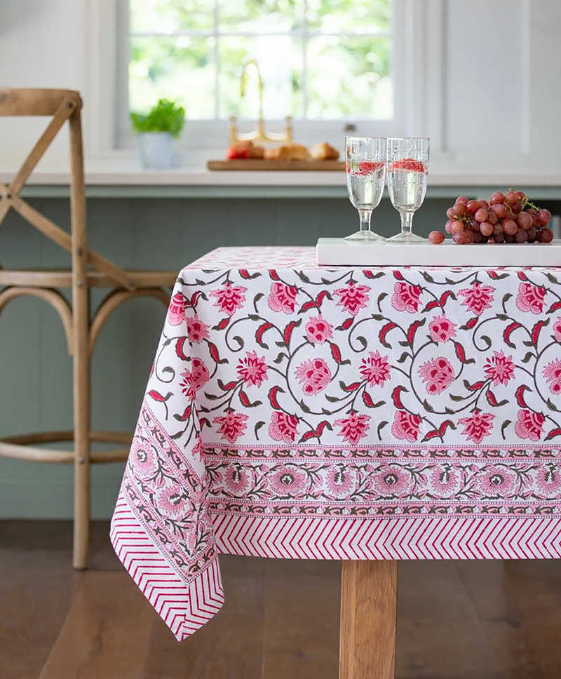 Pink & Berry Cotton Hand Block Printed Tablecloth