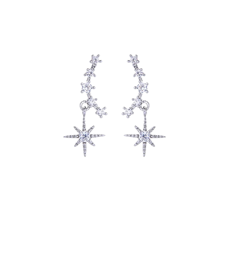 Crystal Arc Drop Star Earrings Silver