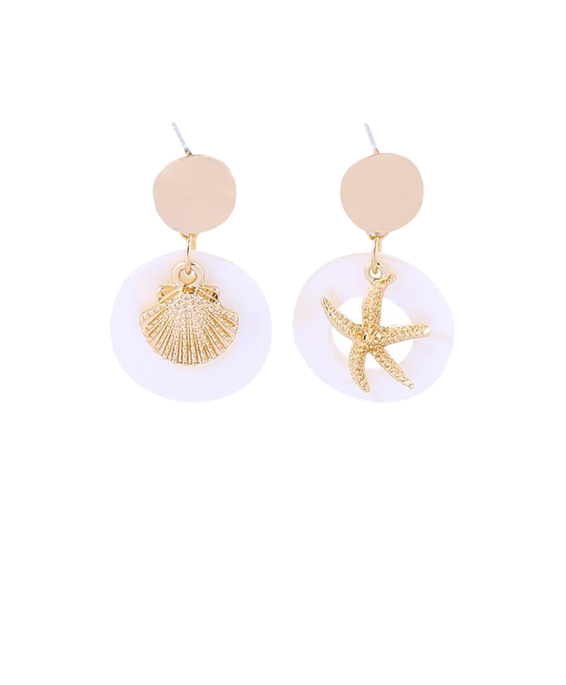 Gold Disc Resin Hoop Shell Earrings