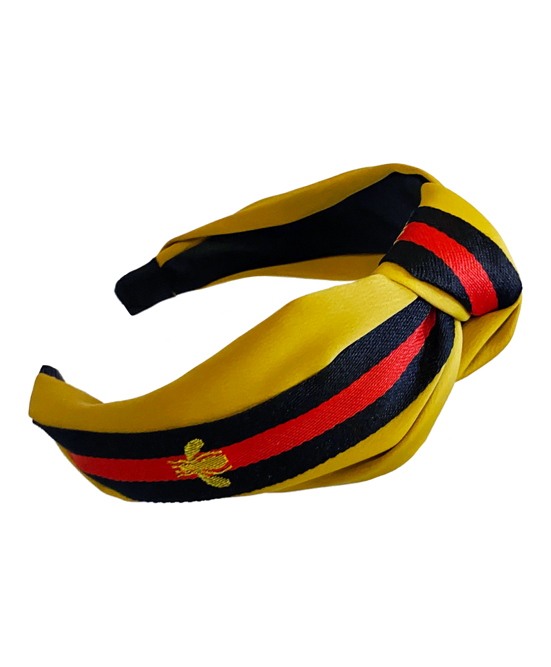 Bee Stripe Knot Hairband Mustard