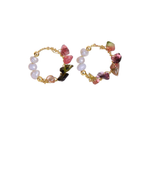 Natural Stone & Pearl Hoops