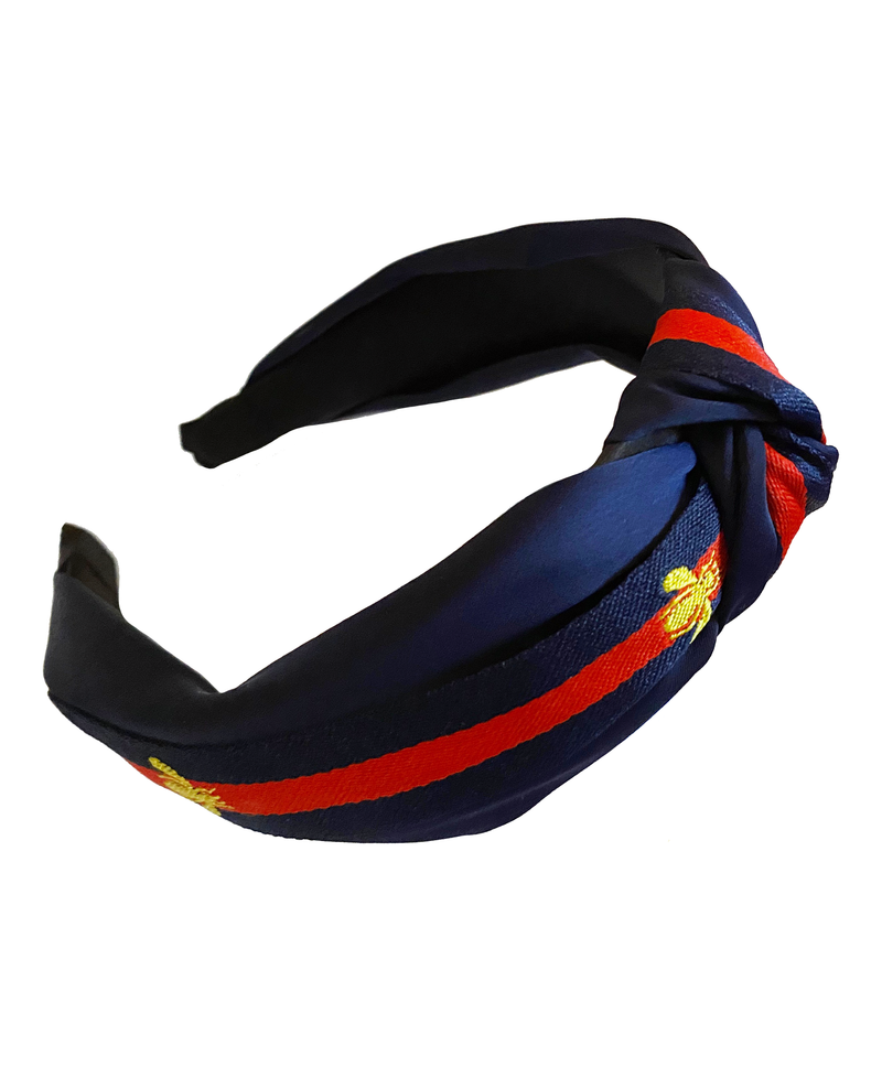 Bee Stripe Knot Hairband Navy
