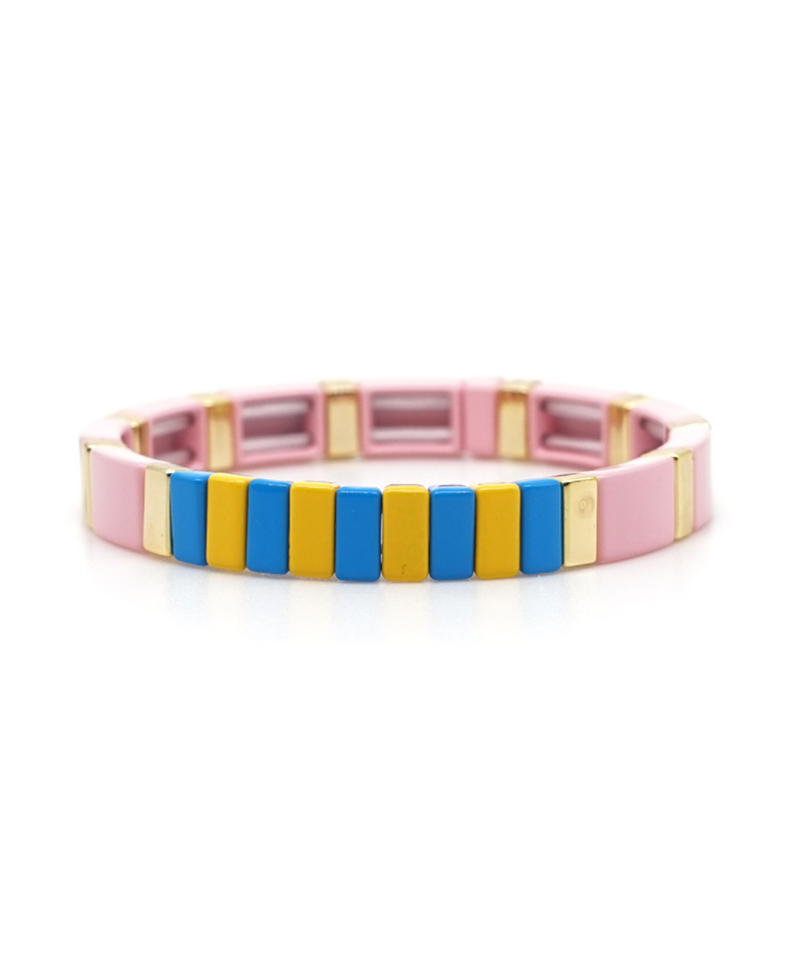 Stretch Bracelet Pink Gold Blue & Yellow