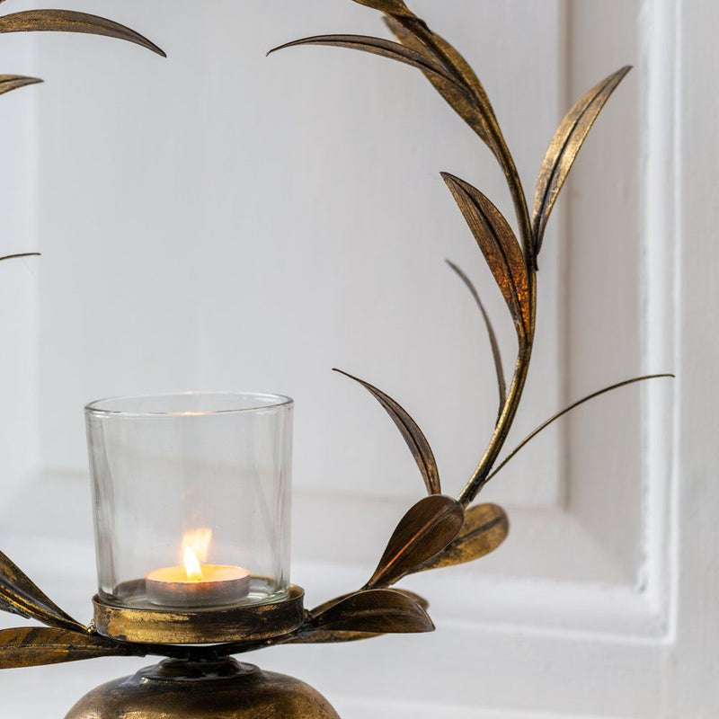 Golden Laurel Leaf Candleholder