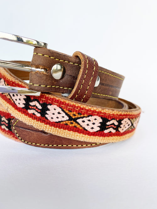 Vintage Moroccan Pink Patterned Belt