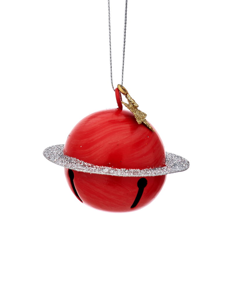 Outer Space Glitter Saturn Bell Decoration
