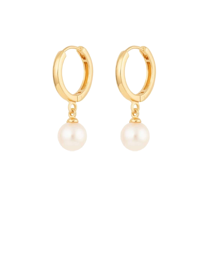 Modern Pearl Huggie Hoop Earrings