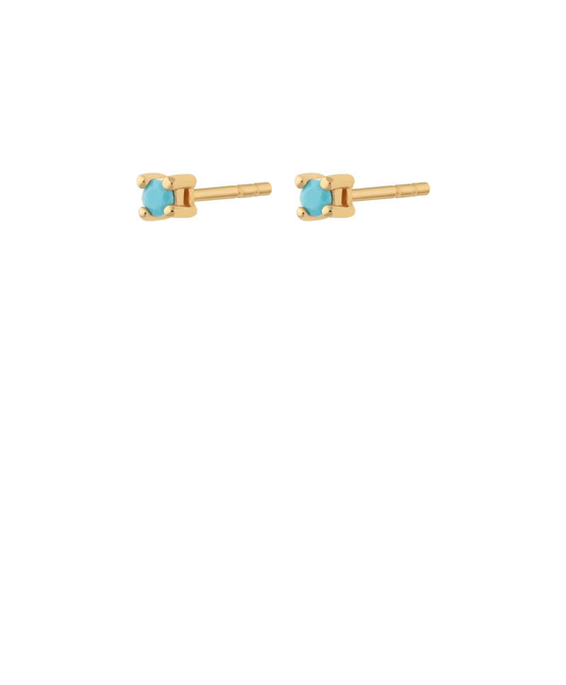 Teeny Tiny Stud Earrings Gold with Turquoise Stones