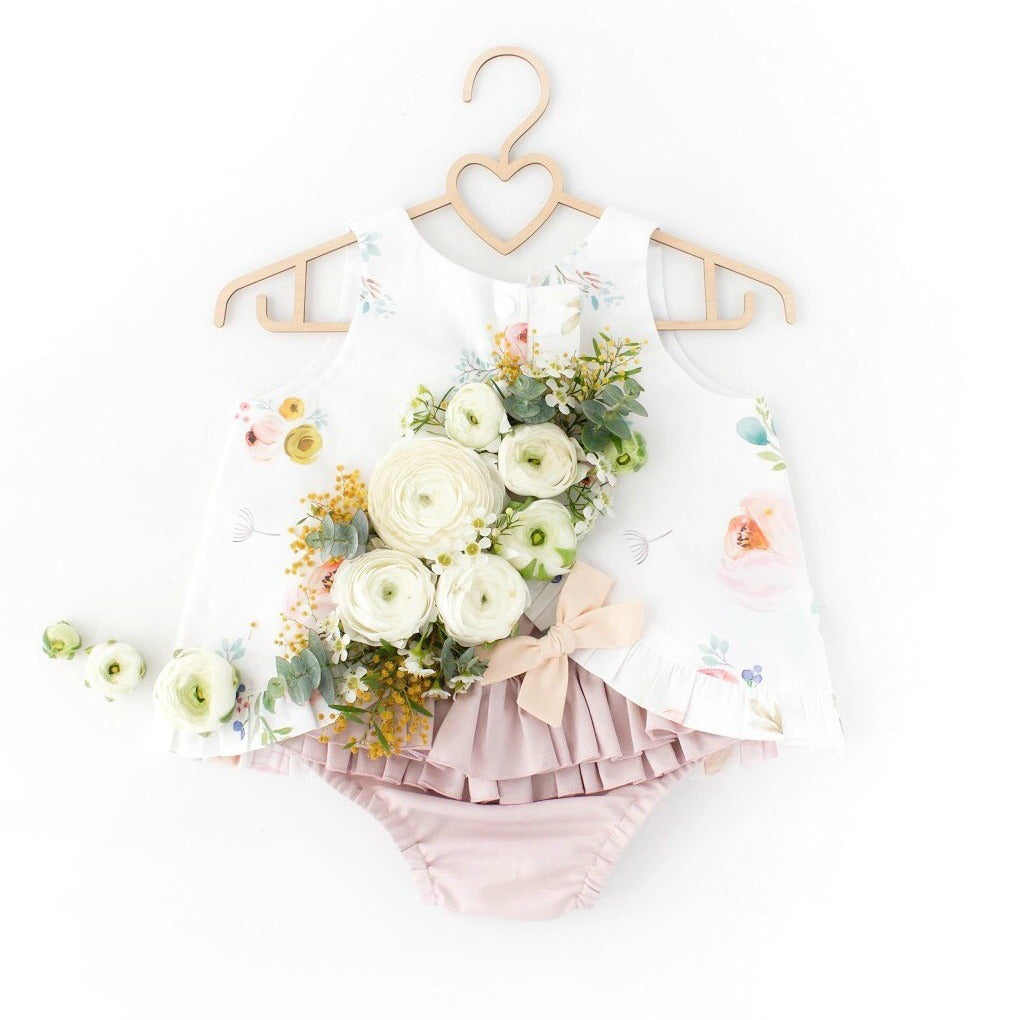 Summer bloom open back swing top and ruffled nappy cover