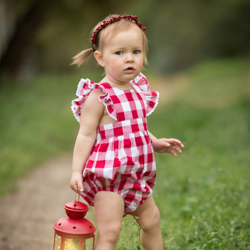 Red Gingham Polly Playsuit/Pinafore
