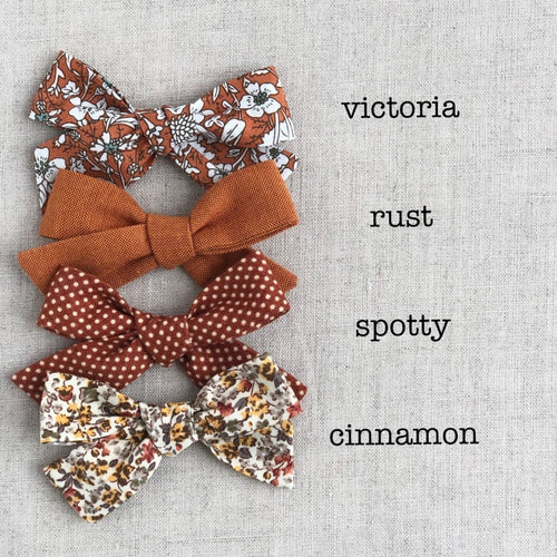 Handtied fabric bow headband/clip (Autumn tones)