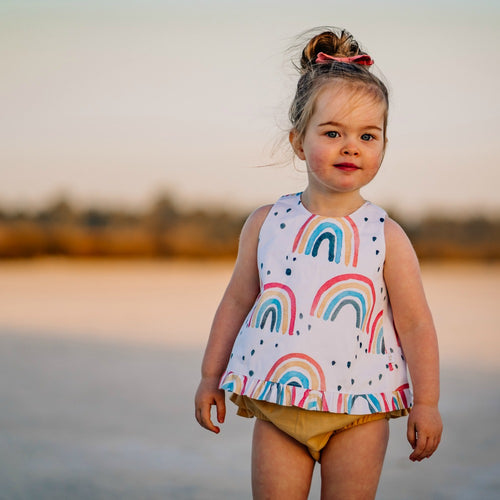 Rainbow open back swing top and ruffled nappy cover
