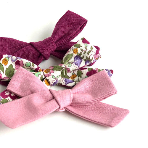 Handtied fabric bow headband/clip (Pinks)