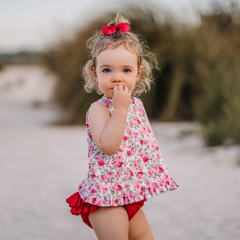 Holly floral open back swing top and ruffled nappy cover