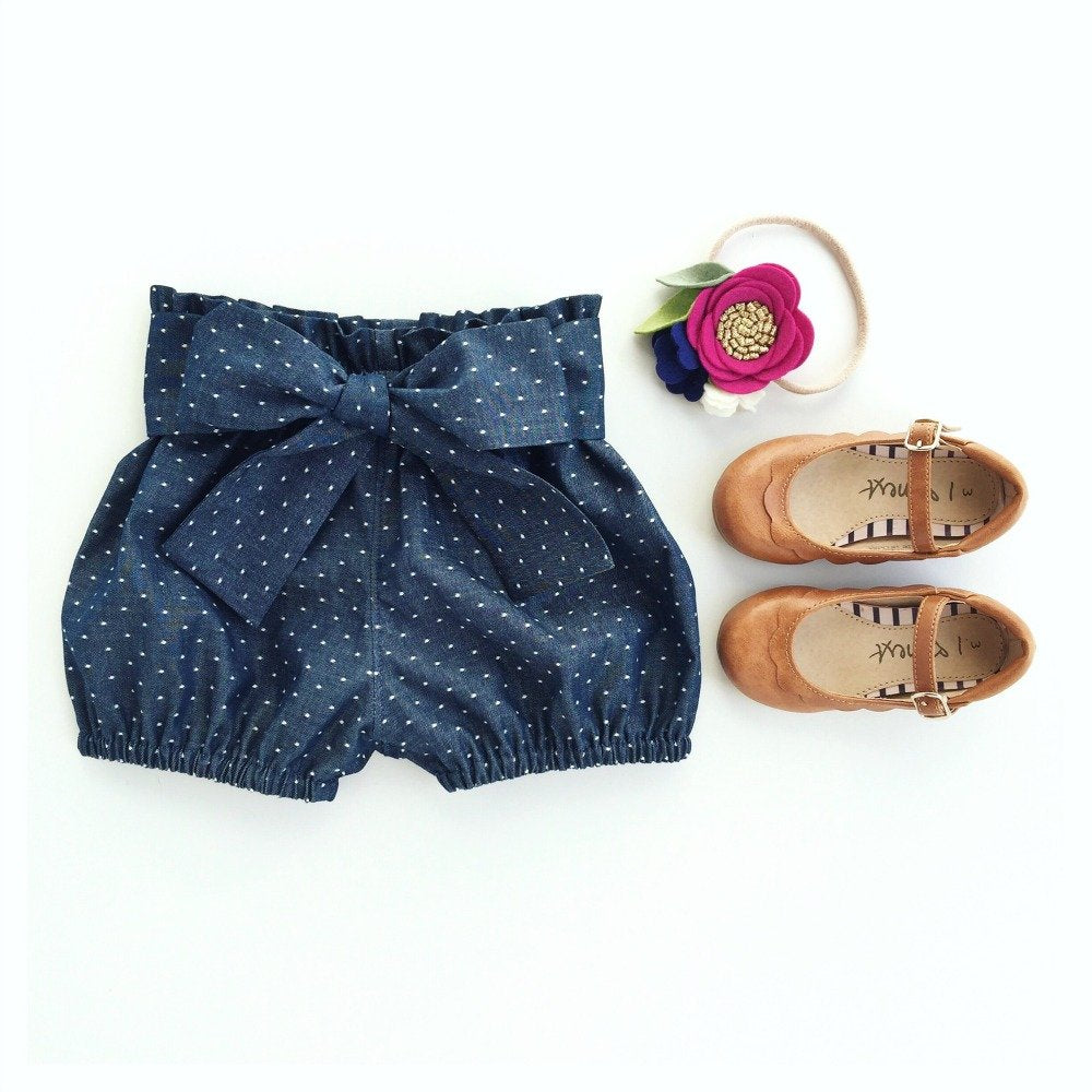 Dotty Denim Sash Shorties