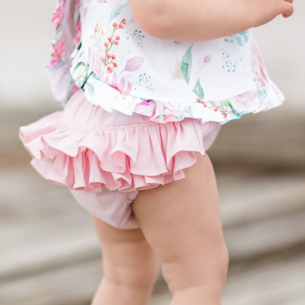 Boho floral open back swing top and ruffled nappy cover