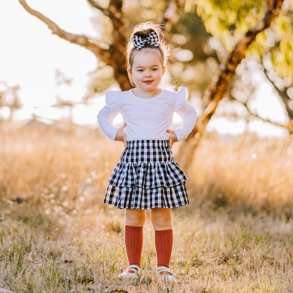 Gingham double ruffle skirt