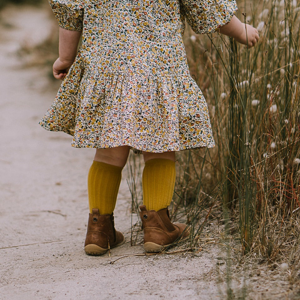 Mustard Ribbed knee high socks