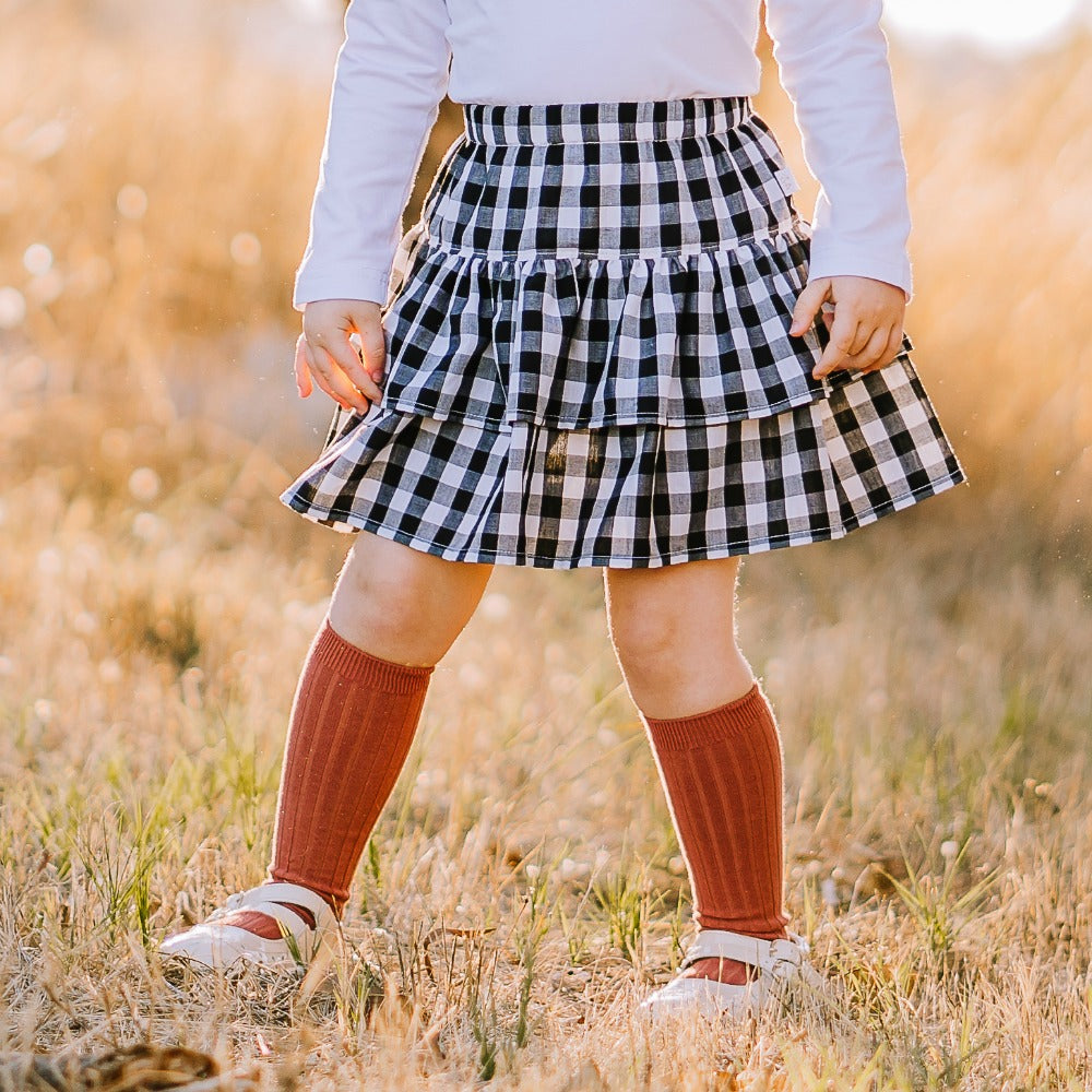 Rust Ribbed knee high socks