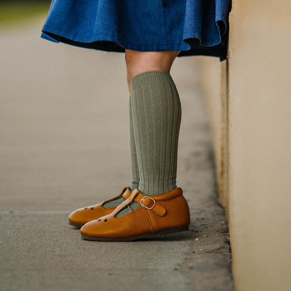 Leaf Ribbed knee high socks