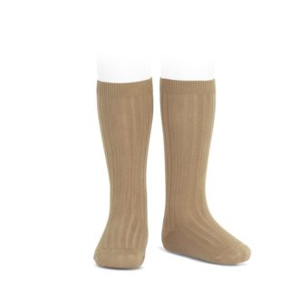 Camel Ribbed knee high socks