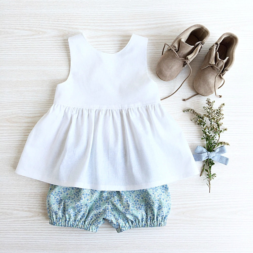 White Linen Peplum Top