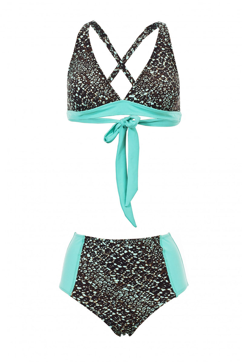 Triangle Top & High Waist Bottom -Turquoise Print - בגד ים נויקה | ביקיני, בגד ים שלם bikini Noyka Surf