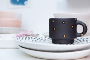 Homes in Colour - Matte Black Coffee Cup with Golden Polka Dots