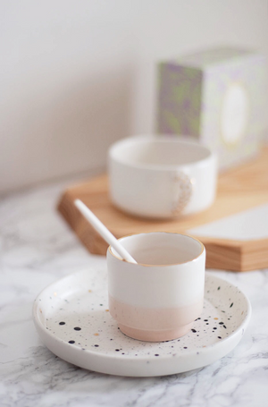 Homes in Colour - White & Peach Pink Coffee Cup with Golden Rim - A Luz Natural