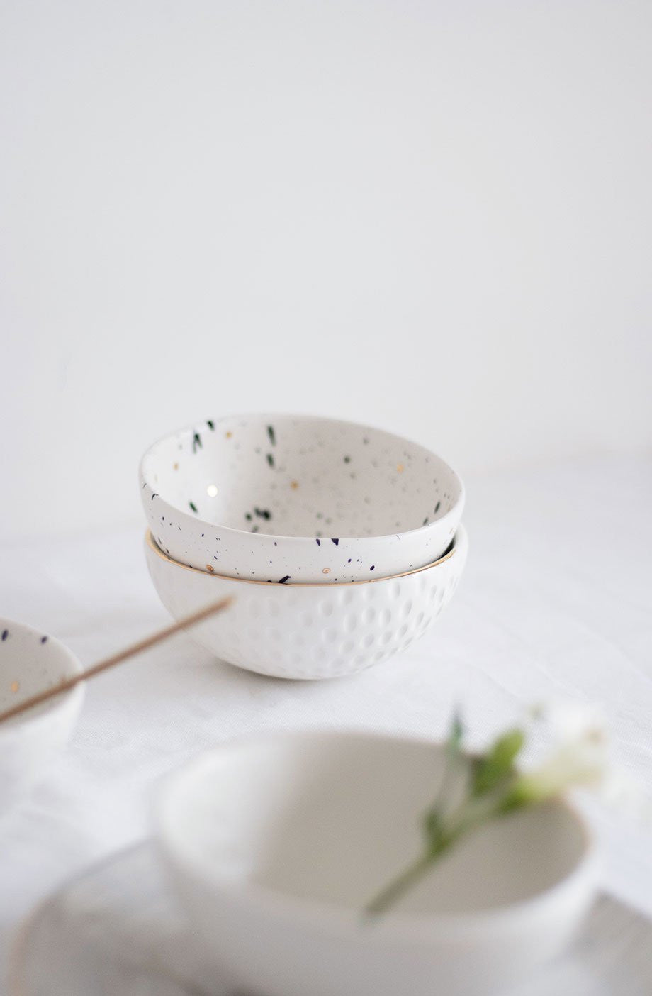 Homes in Colour - Black Dripping & Golden Polka Dots Bowl