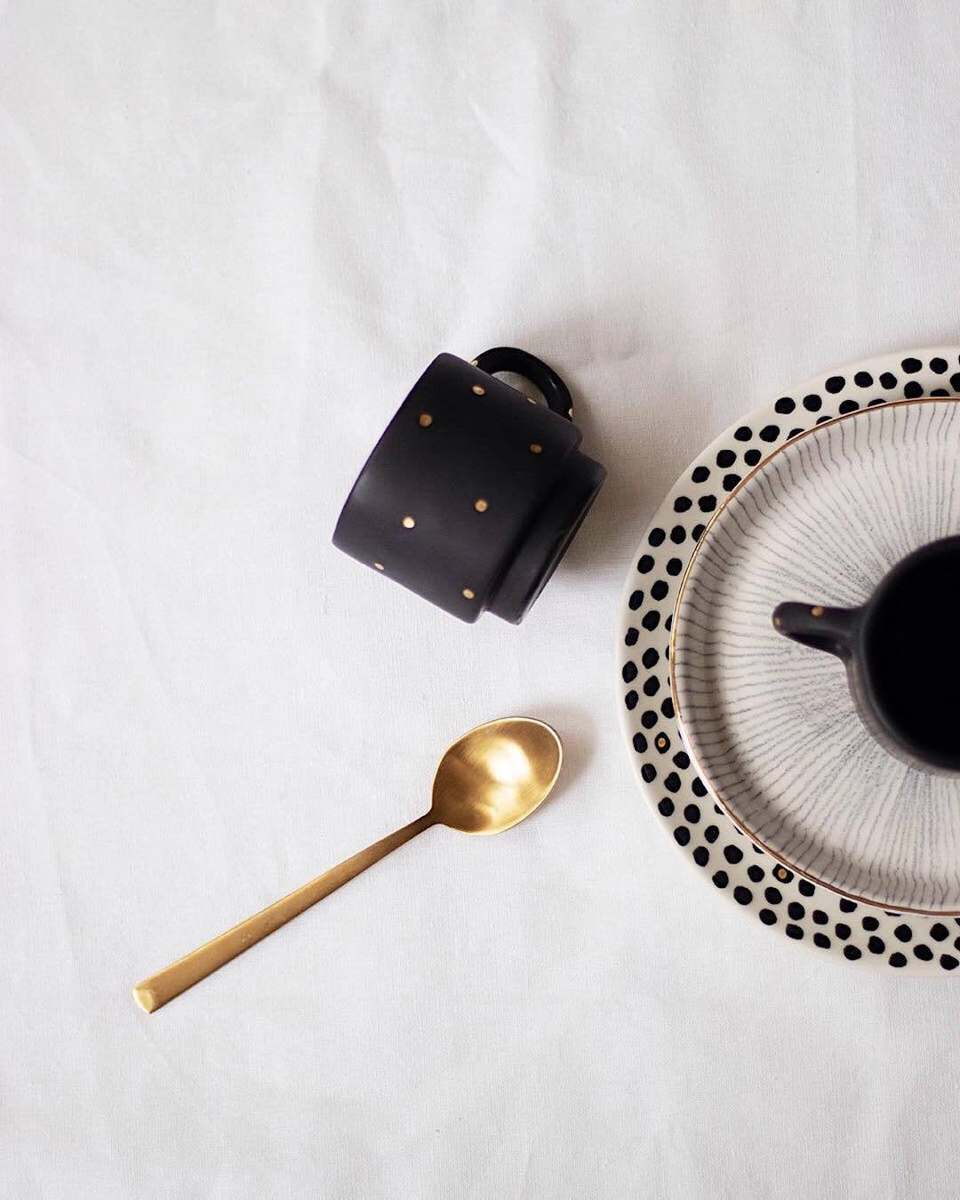 Homes in Colour - Matte Black Coffee Cup with Golden Polka Dots - A Luz Natural