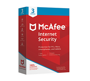 McAfee Internet Security Antivirus Protection 2018 - 3 Device - 1 Year