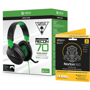 Turtle Beach Recon 70X Gaming Headset + Norton 360 Deluxe 3 Devices Gaming Edition
