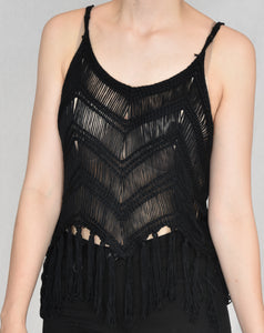 "Fringe crop top ""Black"""