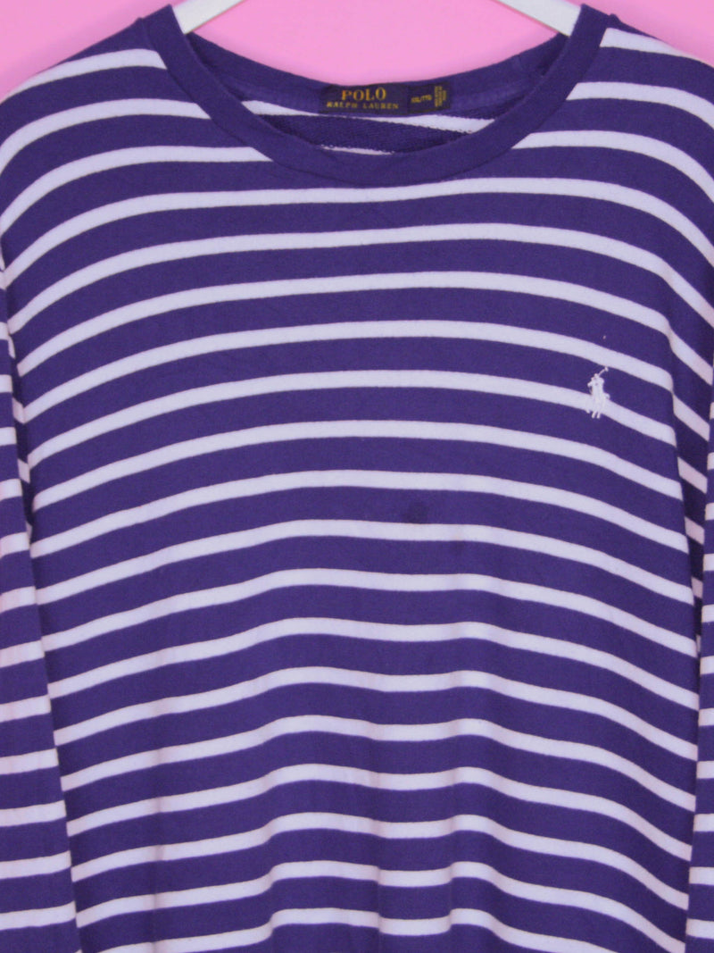 Blue Striped Ralph Lauren Sweatshirt XL - BB Vintage Clothing