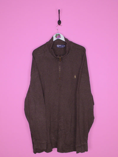 Brown Ralph Lauren 1/4 Zip XXL - BB Vintage Clothing