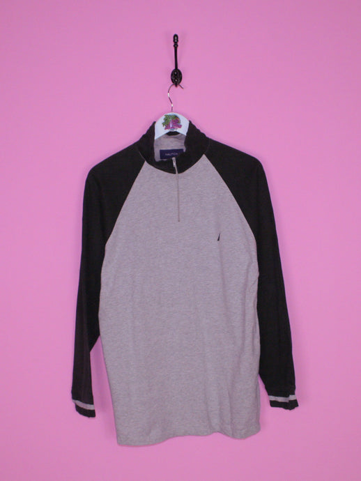 Grey and Black Nautica 1/4 Zip M