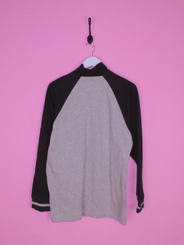 Grey and Black Nautica 1/4 Zip M - BB Vintage Clothing