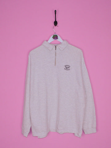 Light Grey Reebok 1/4 Zip L - BB Vintage Clothing