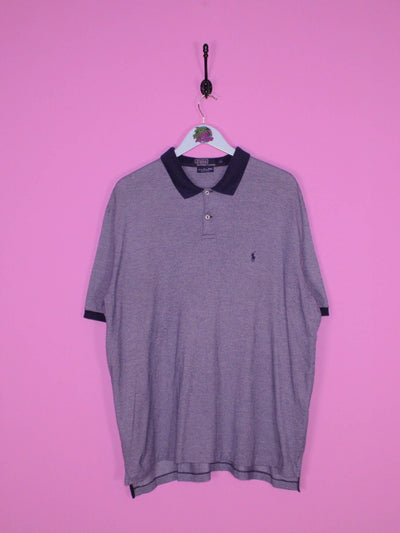 Navy Blue and White Ralph Lauren Polo Shirt XL - BB Vintage Clothing